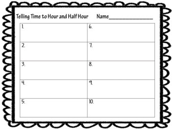 Telling Time Interactive Digital Task Cards