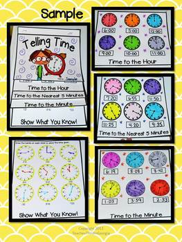 Telling Time Interactive Flipbook-Hour, 5 Minute, Minute- Activity/Assessment