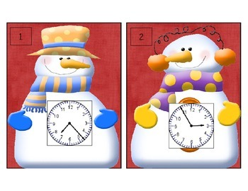 """Telling Time Is """"Snow"""" Much Fun Scoot (Time to the minute)"""