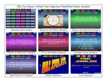 Telling Time Jeopardy PowerPoint Game Slideshow