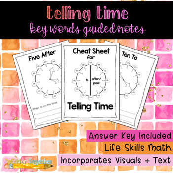 Telling Time Key Words Guided Notes
