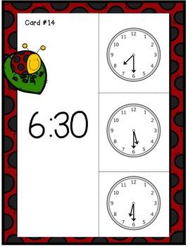 Telling Time Ladybug Clip Cards