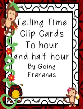 Telling Time Ladybug Clip Cards