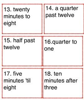 Telling Time Language Task Cards