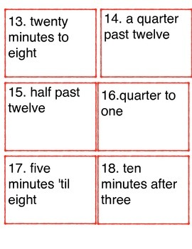 Telling Time Language Task Cards