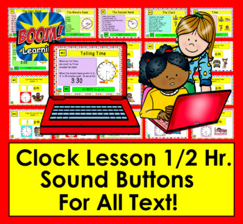 Boom Cards Math: Telling Time Lesson & Practice: Hour & Half Hour - With Sound!