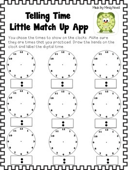 Telling Time Little Match Up App Accountability Sheets