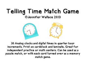 Telling Time Match Game