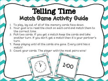 Telling Time Match Game and Task Cards Bundle - Common Core Aligned
