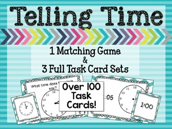 Telling Time Match Game and Task Cards Bundle - Common Cor