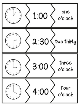 Telling Time Match Up Puzzle and Game