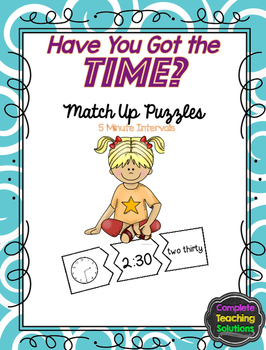 Telling Time Match Up Puzzle and Game - 5 Minutes