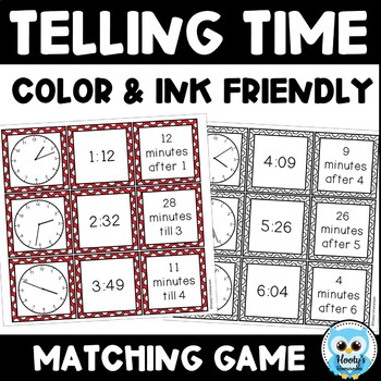 Telling Time Match {color} - Time to the Minute