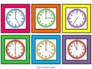 Telling Time Matching File Folder {Hours Only} CC Aligned