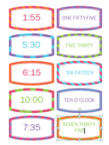 Telling Time Matching/ Flash Cards