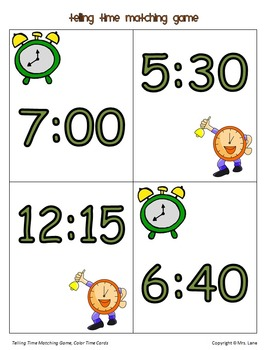 Telling Time Matching Game