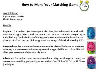 Telling Time Matching Game - Easter Egg Fun