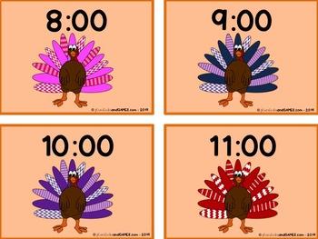 Telling Time Matching Game - Turkey/Thanksgiving