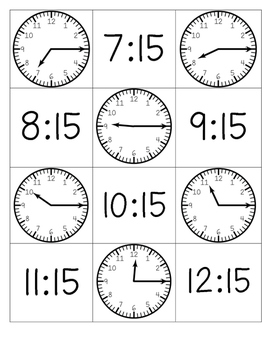 Telling Time Matching Memory Cards