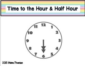 Telling Time Math Musical Chairs Game-Hour/Half Hour with Elapsed Time