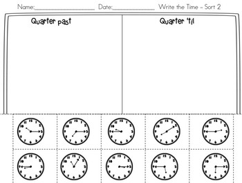 Telling Time - Math Stations - 3.MD.1