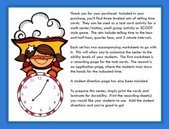 Telling Time Math Task Cards - Designed with Differentiation in Mind