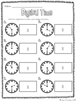 telling time math unit by love to learn and teach tpt. Black Bedroom Furniture Sets. Home Design Ideas