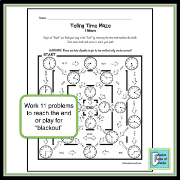 Telling Time Maze - 1 minute