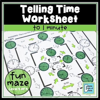 Telling Time Worksheet - 1 minute