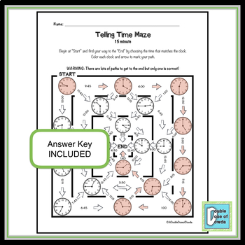 Telling Time Maze - 15 minute