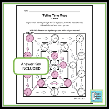 Telling Time Maze - 5 minute