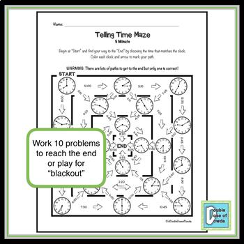 Telling Time Worksheet - 5 minute