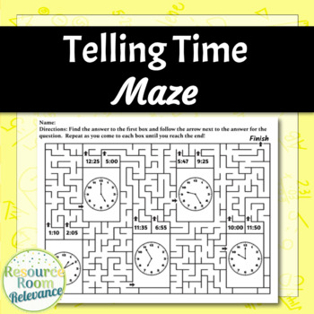 Telling Time Maze Activity - To the Five Minute