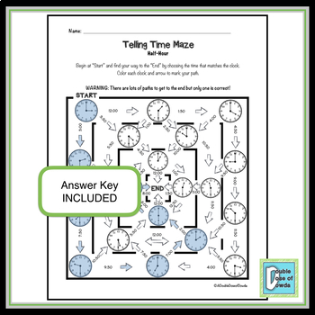 Telling Time Maze - Half-Hour