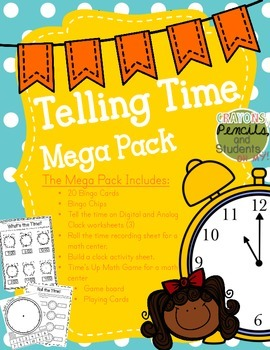 Telling Time Mega Pack - Printables, Centers, Bingo, Craftivities