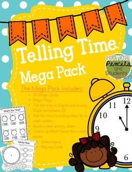 Telling Time Mega Pack - Printables, Centers, Bingo, Craftivities