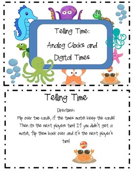 Telling Time Memory Match