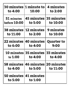Telling Time Memory Matching Game