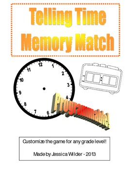 Telling Time Memory Match - Programmable!