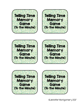 Telling Time Memory Match-Up (To the Hour, To the Half-Hour, To the Minute)