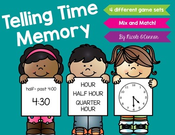 Telling Time Memory (hour, half hour, and quarter hour)