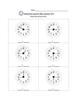 Telling Time Mini Packet 2