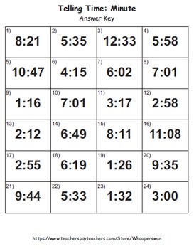 Telling Time Task Cards: Minute