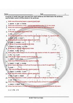 Telling Time Missing Words Worksheet