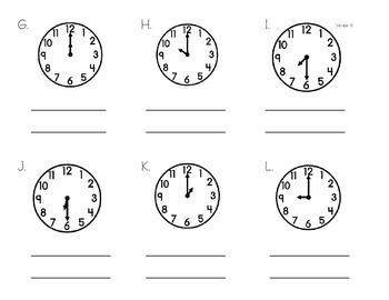 Telling Time - Mixed Hour and Half Past Practice, Analog to Digital and English