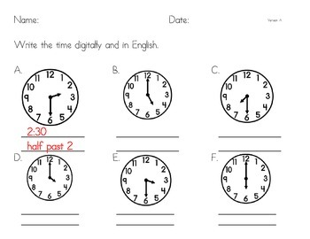 Telling Time - Mixed Hour and Half Past Practice, Analog t
