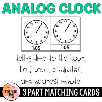 Telling Time: Analog Clock 3 Part Cards