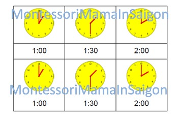Telling Time Montessori Three Part Vocabulary Cards