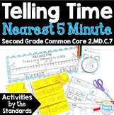 Telling Time Nearest 5 Minutes: AM & PM  2.MD.C.7 Common Core Math 2nd Gr