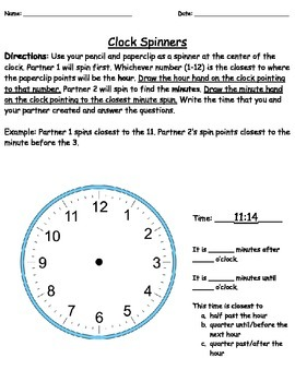 Telling Time (Nearest Minute) Activity Packet & Resources